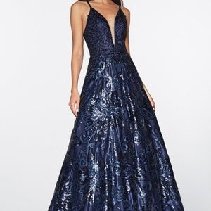 Cinderella Dresses - EVENING PROM formal GOWN  MAXI dress CDML923 NAVY